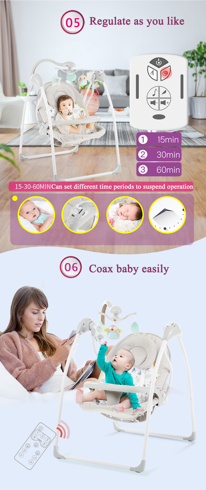 H4d37f0cbf7de42db9dc01a571e8fddd44 Babyinner Baby Rocking Chair Baby Bassinet Newborn Electric Cradle Foldable Baby Chair Multifunctional Swing Baby Sleeping Bed
