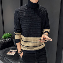 2019 Winter Trend Korean Fashion Thicken Colorblock Jacquard Sweater Round Collar Sweater Designer Brand Top