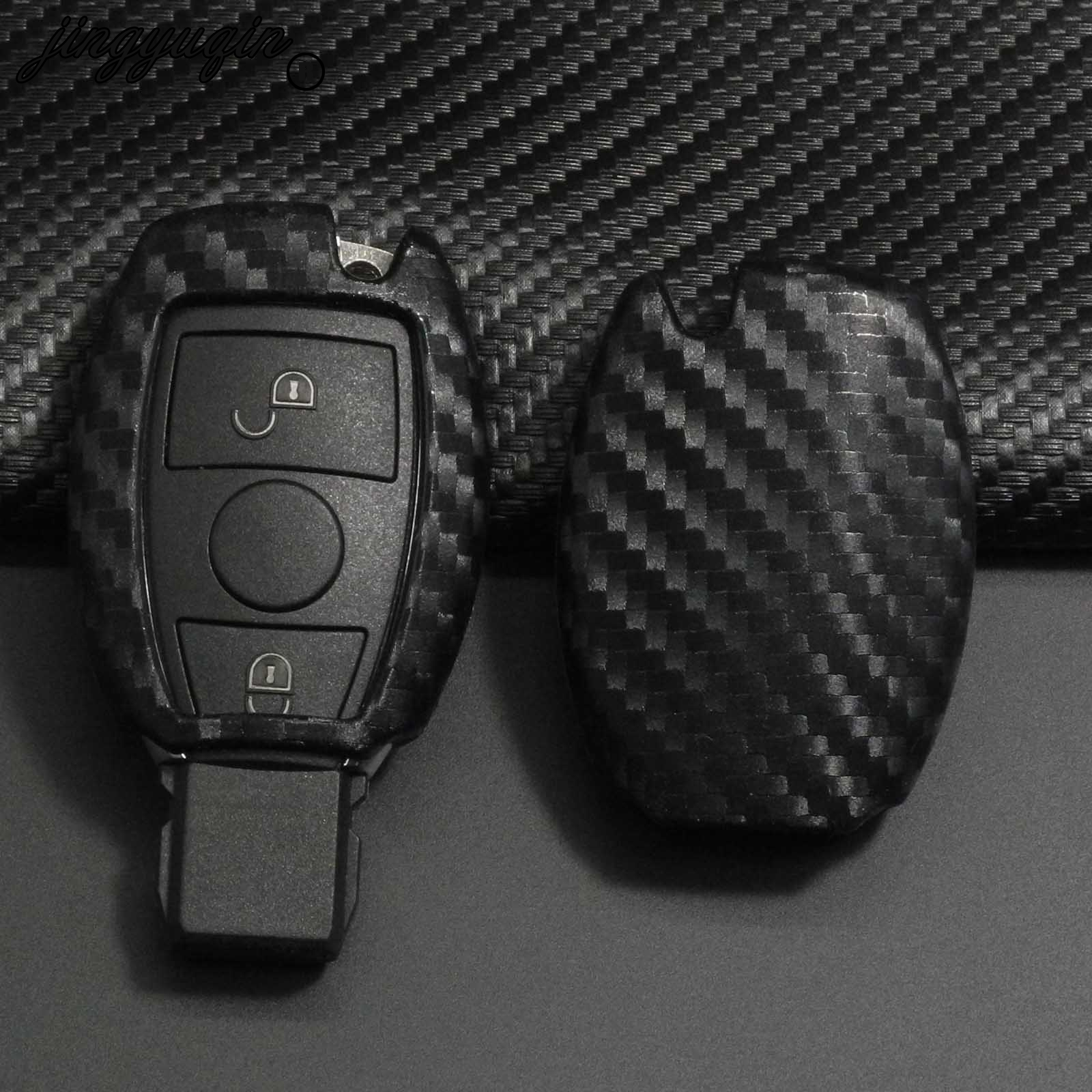 Jingyuqin Carbon Silicone Car Remote Key Fob Case Cover For Mercedes Benz CLS CLA GL R SLK AMG A B C S Protective Shell Keychain
