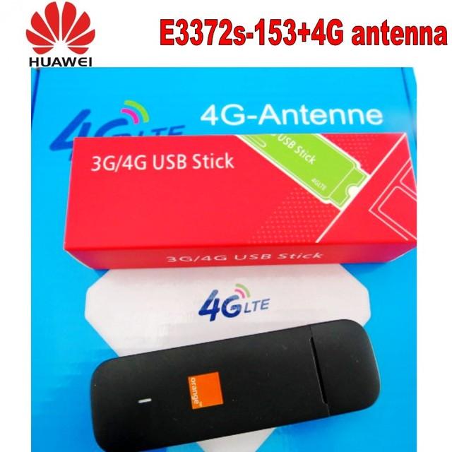 100pcs Unlocked Huawei e3372s-153 4G LTE USB Dongle USB Stick Datacard Mobile Broadband USB Modems 4G antenna 3