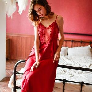Image 4 - Vêtements de maison en dentelle brodée de motifs floraux, vêtements de nuit pour femmes, Lingerie Sexy, nuisette, chemise de nuit