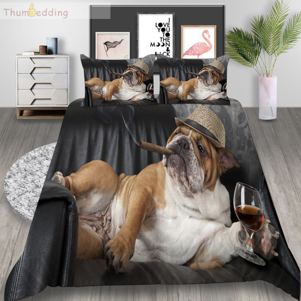 Thumbedding Dog Bedding Set King Size Duvet Cover Set Queen Cigar Wine Soft Touching Material Bed Cover With Pillowcase 3pcs