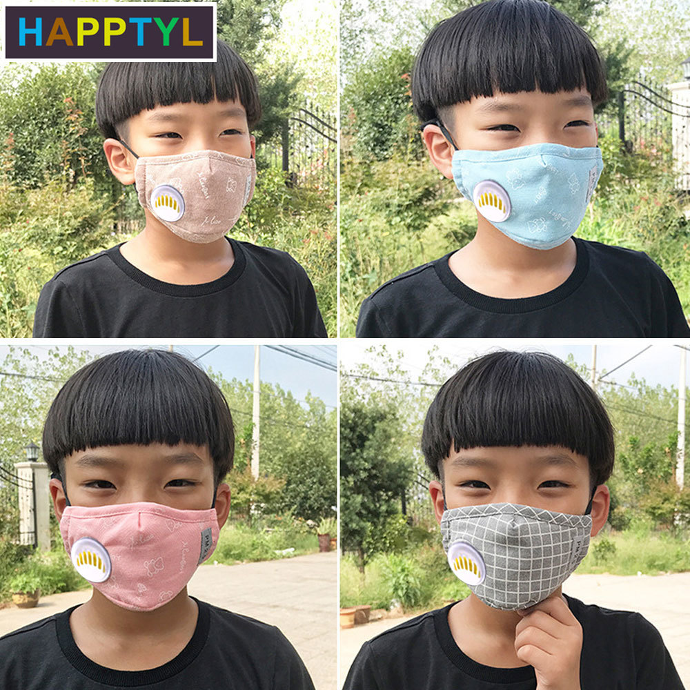 HAPPTYL 1Pcs Fashion Respirator Mask With Breathing Washable Cotton Activated Carbon Filter PM2.5 Mouth Masks For Children Kids