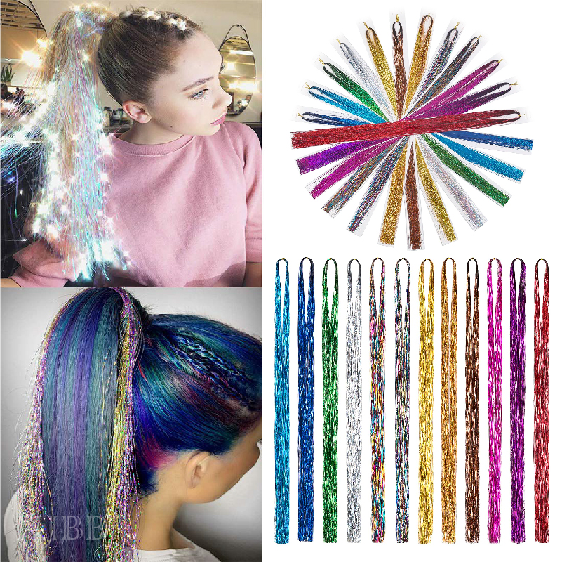 XJBB Synthetic Extension Glitter Fairy Hair For Girls Desire For Hair Sparkling Bling Bling Synthetic Hair Tinsel For Party