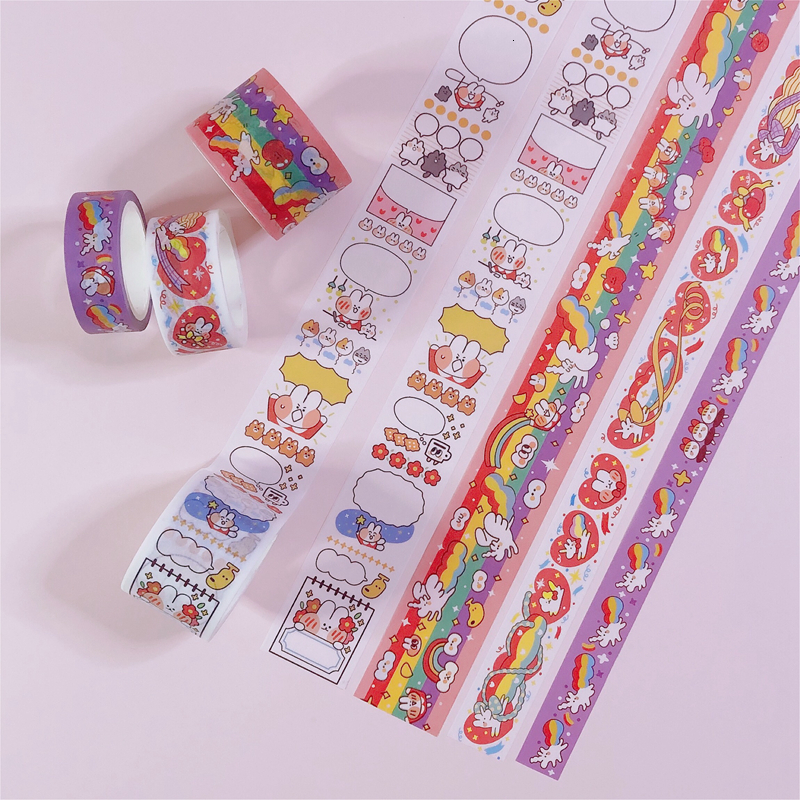 INS Hot Sale Cute Cartoon Rabbit Unicorn Washi Tape Cute Hand Diary Decoration Material Stationery Sticker 9 Styles Masking Tape