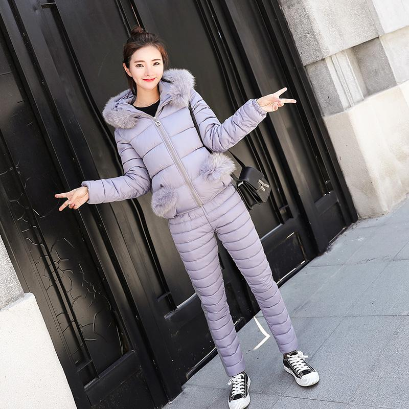 Samgpilee New Winter Jacket Pants Women Suit Down Cotton Coat Parka With Fur Hoodie Print 2 Piece Set Tracksuit S90801