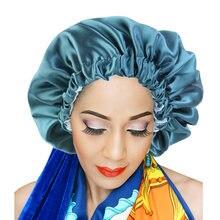 Bonnet en Satin pour femmes, Extra Large, Double couche, couleur unie, soyeux, confortable, pour dormir, jour et nuit, maquillage pour Salon, coiffe de tête