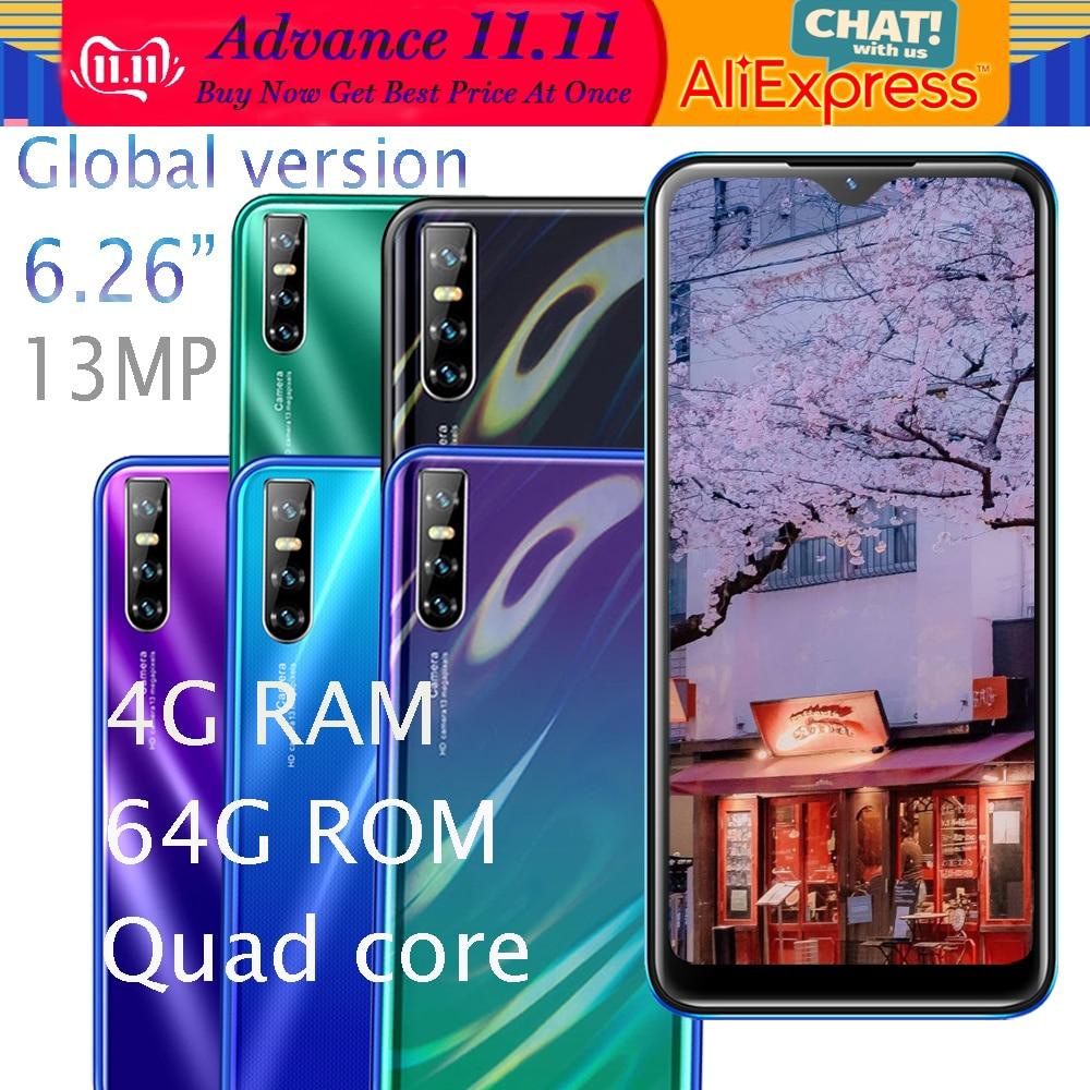 Mate20 Pro 4G Ram Smartphones 64G Rom Water Drop Screen Quad Core MT6580 Android Mobiele Telefoon 6.26