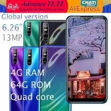 Mate20-teléfono inteligente con pantalla de gota de agua, smartphone con 4 GB de RAM, 64 GB de ROM, Quad Core, MT6580, Android, pantalla de 6,26 pulgadas, cámara de 13.0mp, soporta desbloqueo facial