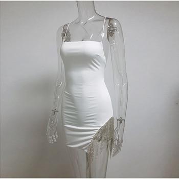 NewAsia 2 Layers Diamond Party Dress Women 2020 Summer Backless Tassel Hem Valentine Sexy Club Dress Elegant White Dress Mini 10