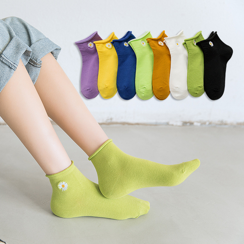 Floral Frilly Daisies Multi Solid Color Ankle Socks Women Girl 100 Cotton Cute Fresh School Best Black White Ruffle Anklet Socks