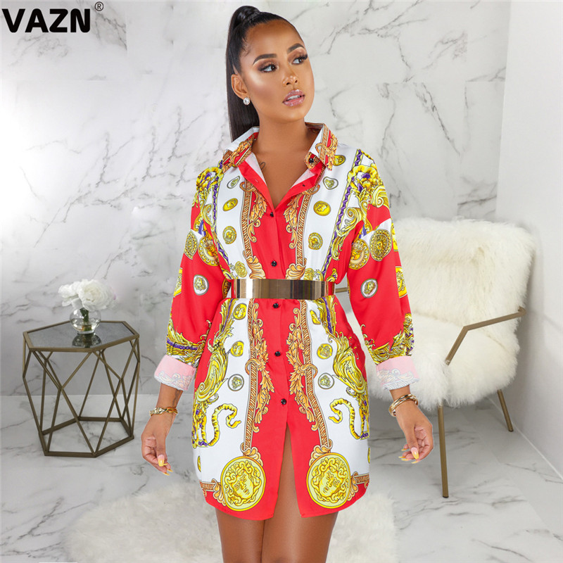 VAZN SMR9403 chic product 2019 summer sexy lady colors mini dress full sleeve button fly dress lady casual T shirt special dress