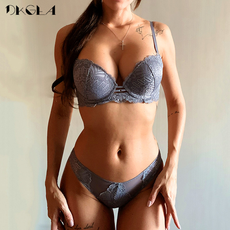 Top Sexy Bra Panties Set Embroidery Lingerie Thick Gray Lace Underwear Sets Cotton Bras Push Up Black Women Brassiere Deep V