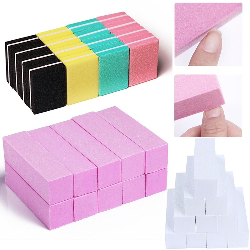 10pcs/lot Mini Sponge Nail File Colorful Sanding Buffer UV Gel Polish Set Block Nail Files Double Side Nagel Nail Art Tools 1