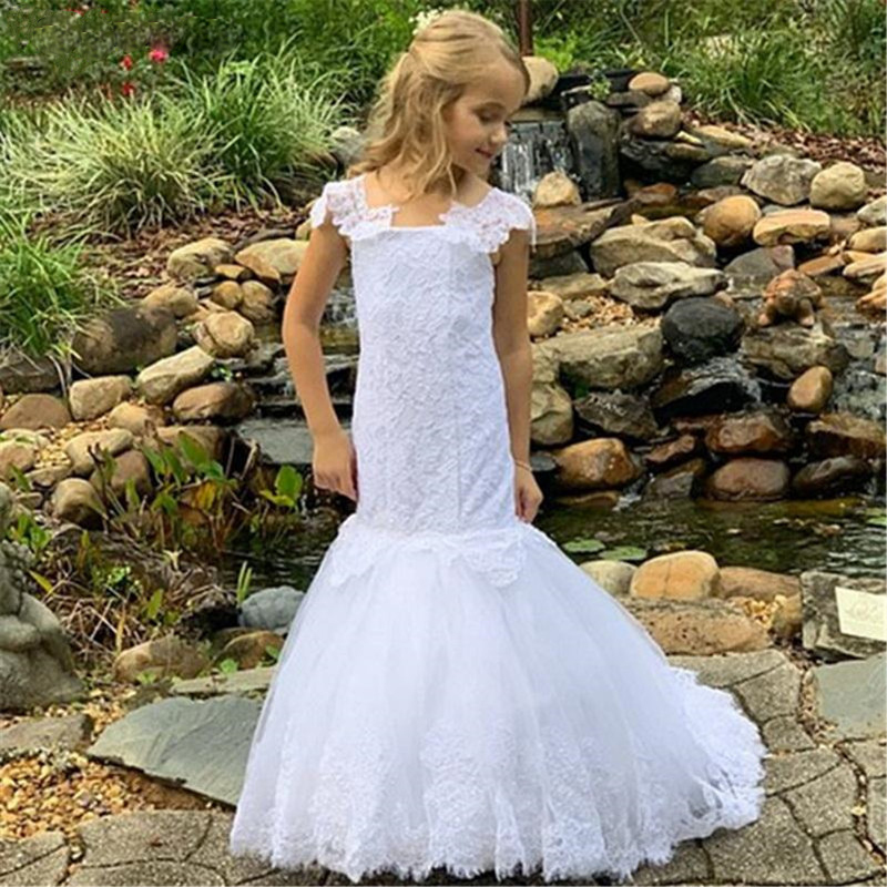 Pure White Mermaid Flower Girl Dress For Wedding Lace Up Back Custom Made Kids Pageant Gowns Princess Communion party Dress