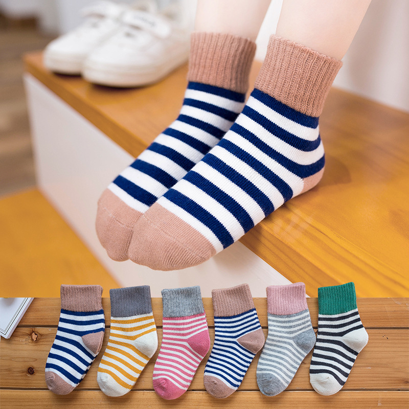 5 пар детских носков для маленьких мальчиков зимние носки; Весна-Осень; Детская хлопковая одежда; Дышащие хлопковые полосатые носки, сохраня...