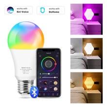 Bluetooth lâmpada inteligente e27 rgb + branco frio + branco quente lâmpada led pode ser escurecido magia lâmpada led compatível com dohome siri