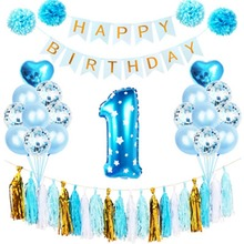 Happy Birthday Banner Birthday Party Decorations Kids 1st Birthday Party Supplies First One Year Baby Shower Kids Favors Decor