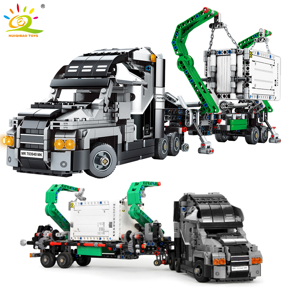 1202Pcs Technic Engineering Container Truck Building Blocks Compatible Legoinglys Technic Vehicle Car Duneride Bricks Toys Child