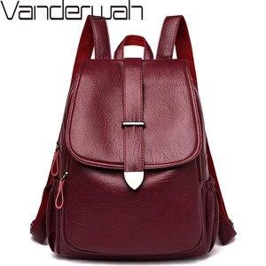 Image 1 - 2019 Women Leather Backpacks Female Travel Shoulder Bags Sac a Dos Femme Large Capacity Travel Backpack Fashion Ladies Back Pack