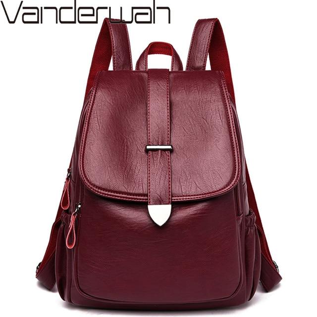 2019 Women Leather Backpacks Female Travel Shoulder Bags Sac a Dos Femme Large Capacity Travel Backpack Fashion Ladies Back Pack