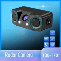 3 em 1 sensor de radar estacionamento vídeo reverso carro backup câmera visão traseira com sem fio transmissor & receptor|Câmera veicular| |  -