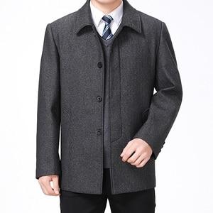 Image 3 - Mu Yuan Yang Wool Coat For Men Casual Woolen Coats Male Clothing Mens Jackets Single Breasted Overcoat 4XL Plus Size