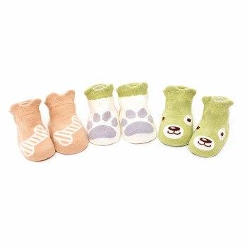 3 Pairs Baby Socks Toddler Anti-Slip Socks Novelty Cotton Socks Baby Girls Cute Animal Pattern Socks For 0-3 Years Kids