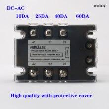 цена на 3 Phase 10A 25A 40A DA Three Phase SSR 3-32V DC Control 24-480V AC Solid State Relay SSR AC Three DC-AC