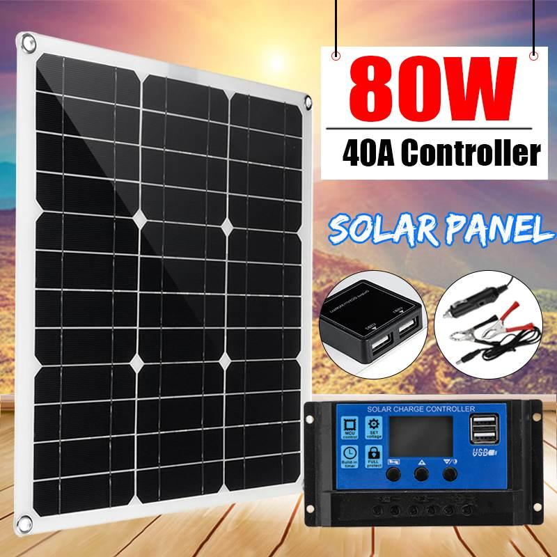 80W panneau solaire cellule solaire double Module de cellule USB + 40A contrôleur pour voiture Yacht lumière LED RV 18V batterie bateau chargeur extérieur