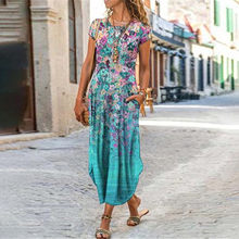 Flora vintage vestidos estampados mulheres plus size bolso vestido longo manga curta mid-length vestido de praia vestidos longos de verao