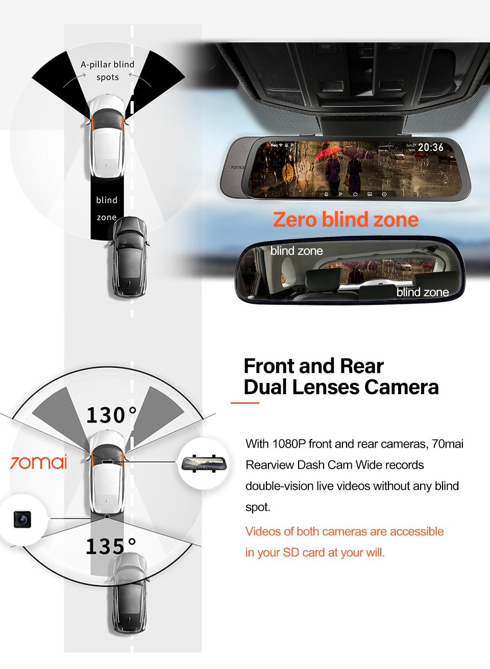 AliExpress | Dash camera auto integrată în oglindă de la 70 Mai, vedere fata + spate, HD, 23.7 cm, 130 grade vizibilitate, livrare din Polonia 5