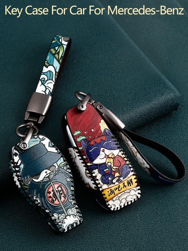Genuine Leather Car Key Case for Mercedes-Benz CLA180 CLS350 GLB GLA GLE GLC GLK GLS ML250 R320 S400 E-Class C260L E260 Keyfobs