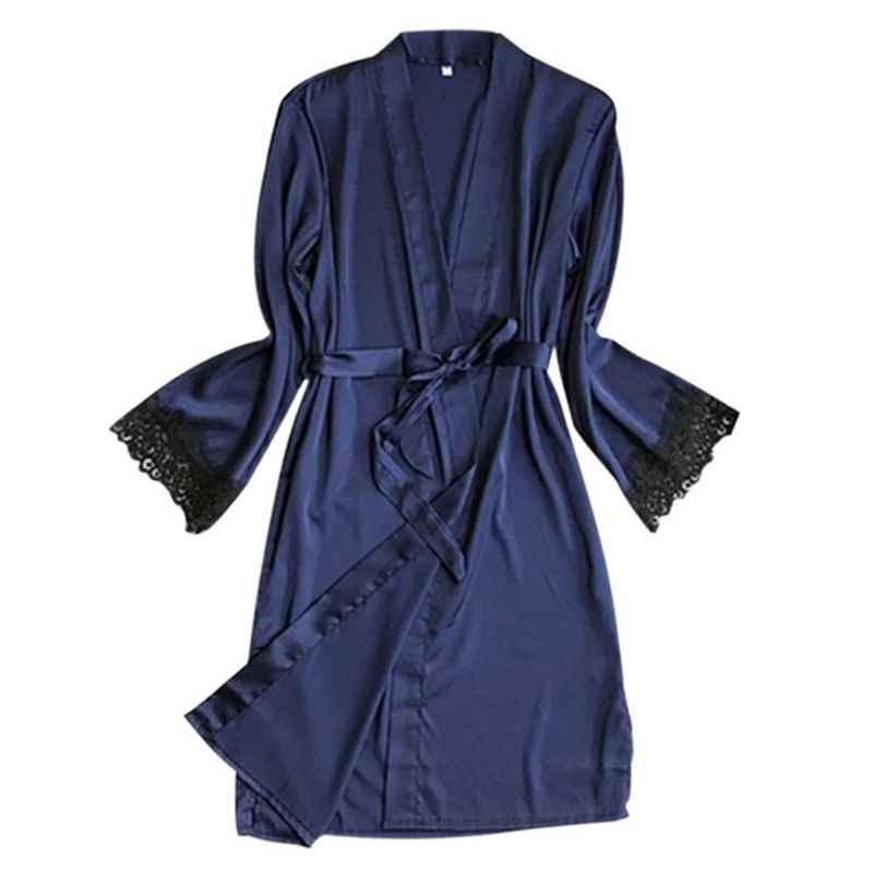 נשים פו משי לפתוח חזית קימונו חלוק אמבטיה V-צוואר מוצק צבע ריס תחרה שרוול ארוך שרוול כתונת לילה חגור מותניים הלבשת