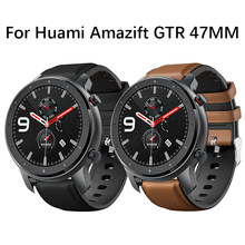 Leather + Silicone Watchband For Amazfit GTR 47mm Smart Watch Band For Xiaomi Huami Amazfit Pace/Stratos 2 2S bracelet Wrist Strap for Huawei Watch GT(China)