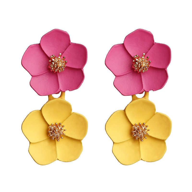 Blume Tropfen Ohrringe für Frauen Schmuck Vintage Aussage Korea Nette Baumeln Gelb Rot Rosa Blau Grün Rose Blume Ohrringe 2019