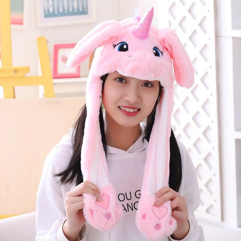 Различные стили милый кролик шляпа с светильник Забавный воздушный поплавок наполнение уха подвижная крышка мультфильм плюшевые игрушки подарки для ребенка - Цвет: Белый