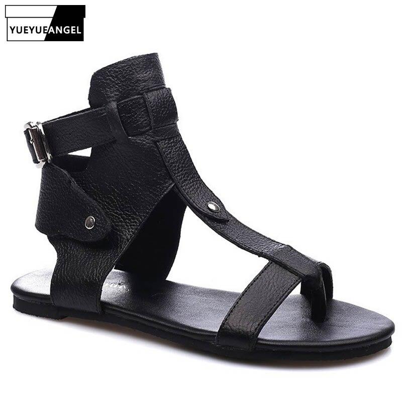 2019 été femmes en cuir haut gladiateur sandales tongs appartements plage sandales dame boucle sangle Vintage loisirs Rome chaussures
