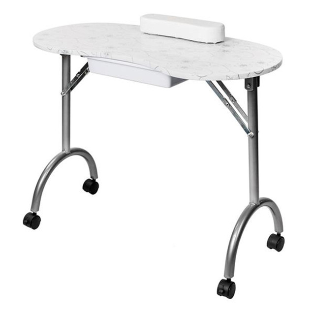 Portable MDF Manicure Table with Arm Rest & Drawer Salon Spa Nail Equipment White 2