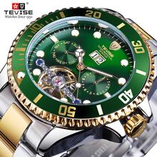 TEVISE Green Dial Tourbillion Gold Bezel Mens Luxury Busines