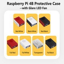 Raspberry Pi 4B Case ABS Protective Shell With Glare LED Fan Simple Color Cases for 4 Model B