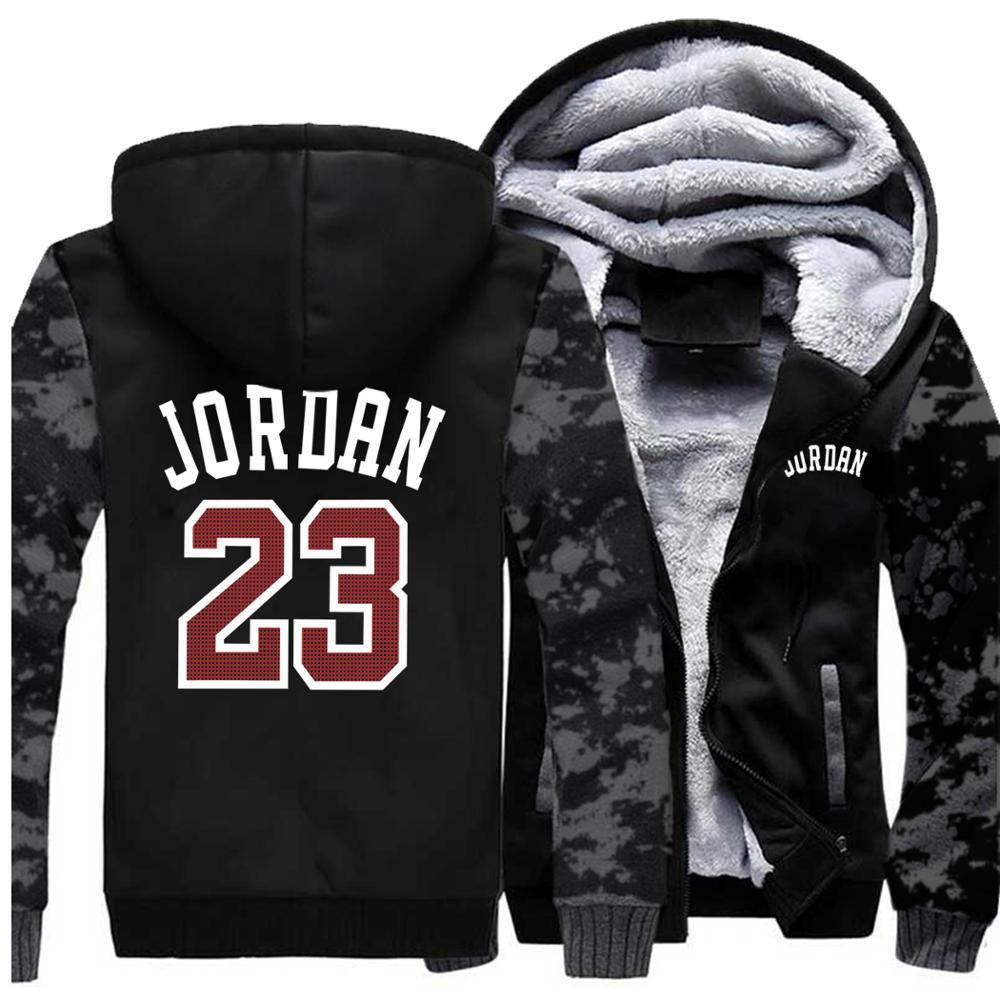 Jordan 23 Thick Hoodies  Jacket Men 2019 Casual Warm Fleece Hoodie Male Streetwear Jackets Male Harajuk Mens Coats Hoody Hip Hop