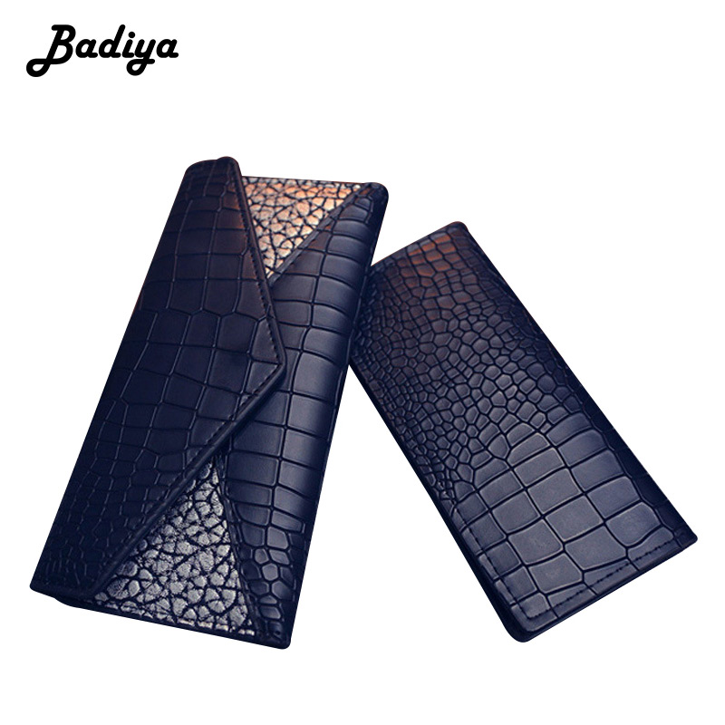 Fashion Women Crocodile Pattern Long Wallets Contrast Color Tri-fold Coin Purse Clutch Bag Multi-card Position Lady Card Holder