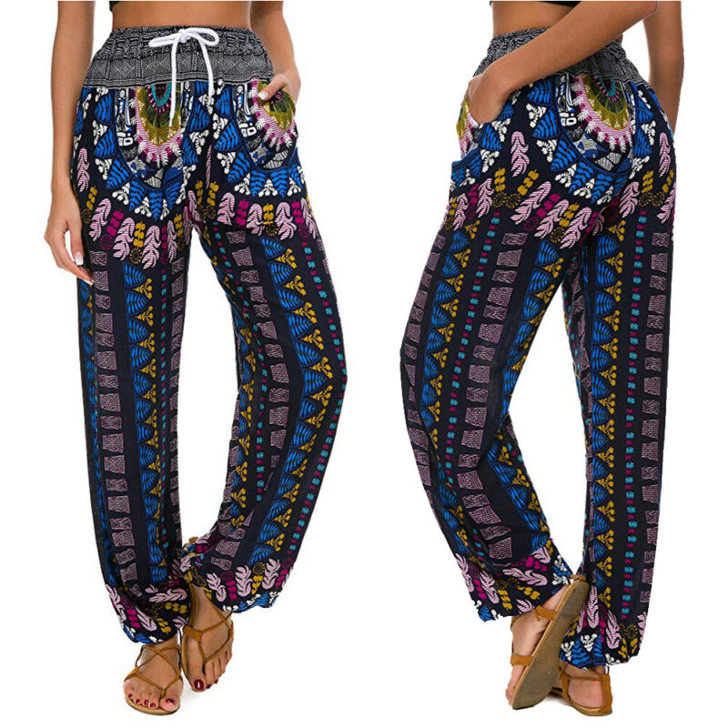 Goocheer Women Thai Harem Trousers Boho Festival Hippy Smock High Waist Pants Print stretchy High rise loose antern pants in Pants amp Capris from Women 39 s Clothing