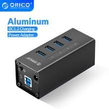 Orico alumínio 4 portas usb3.0 divisor usb hub suporte bc1.2 carregamento com 12v2a adaptador de energia para macbook computador portátil acessórios