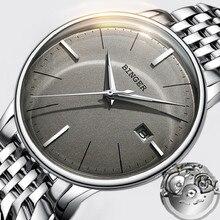 Seiko-reloj mecánico con movimiento automático para hombre, correa de acero inoxidable con espejo gris