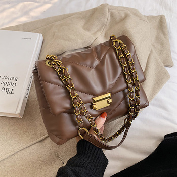 Fashion Lingge Chains Women Shoulder Bags Designer Quilted Handbags Luxury Pu Leather Crossbody Bag Lady Small Flap Purses 2020 fashion basketball bag women chains shoulder bags designer brand round handbag luxury pu leather crossbody bag letter lady totes