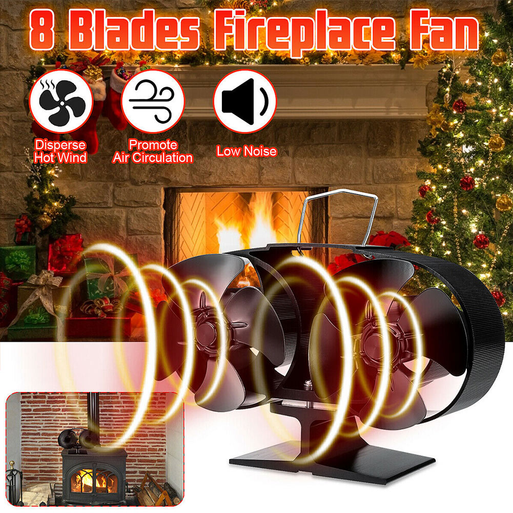 Fireplaces Stove Fan 8 Blades Heat Powered For Large Room Wood Log Fire Burning DAG-ship