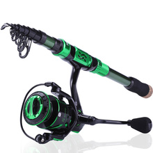Sougayilang Top Quality 1.8M-2.4M Fishing Rod Reel Combo Carbon Telescopic Fishing Pole and 12+1BB 6.2:1 Spinning Reel Set