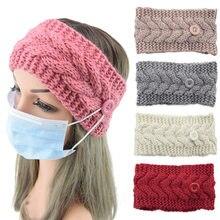 Unisex Doctor Nurse Button knitting Headband solid Headwrap proteggi orecchie porta maschera turbante elastico bandana